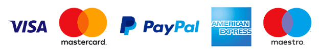 We accept payments by Visa, Mastercard, Paypal, AmEx, Maestro